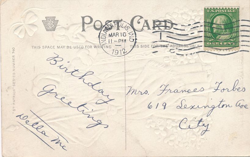 St Patricks Day Greetings - Emblems of Erin - pm 1912 at Indianapolis IN - Divided Back