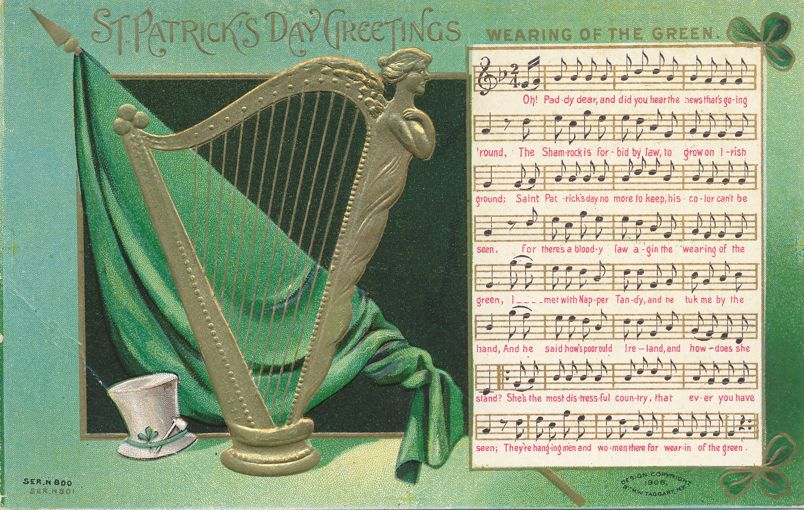 St Patricks Day Greetings - Harp and Song - Taggart Card - Divided Back