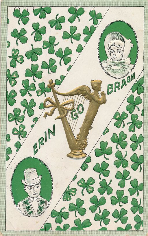 St Patricks Day Greetings - Erin Go Bragh - Harp and Shamrocks - pm 1909 at Nebraska - Divided Back