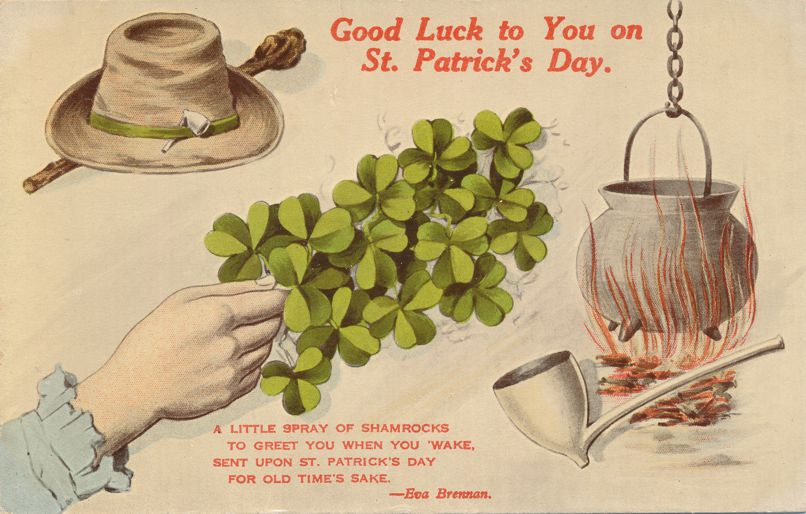 St Patricks Day Greetings - Good Luck to You - Hat Shamrocks Pipe - Divided Back