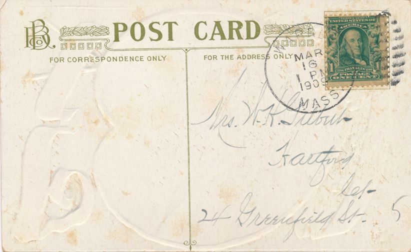 St Patricks Day Greetings - Blarney Castle - God Bless Old Ireland - pm 1909 at Warren MA  - Divided Back