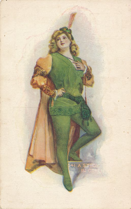 St Patricks Day Greetings - Pretty Lady - Study in Green - Divided Back