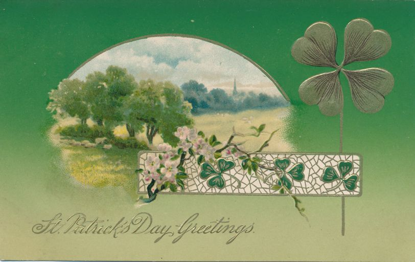 St Patricks Day Greetings - Shamrock and Rural Scene - Divided Back