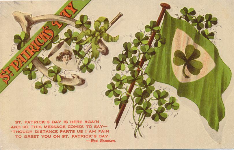 St Patricks Day Greetings - Eva Brennan Poem - Wishbone, Pipe, Shamrock Flag - Divided Back