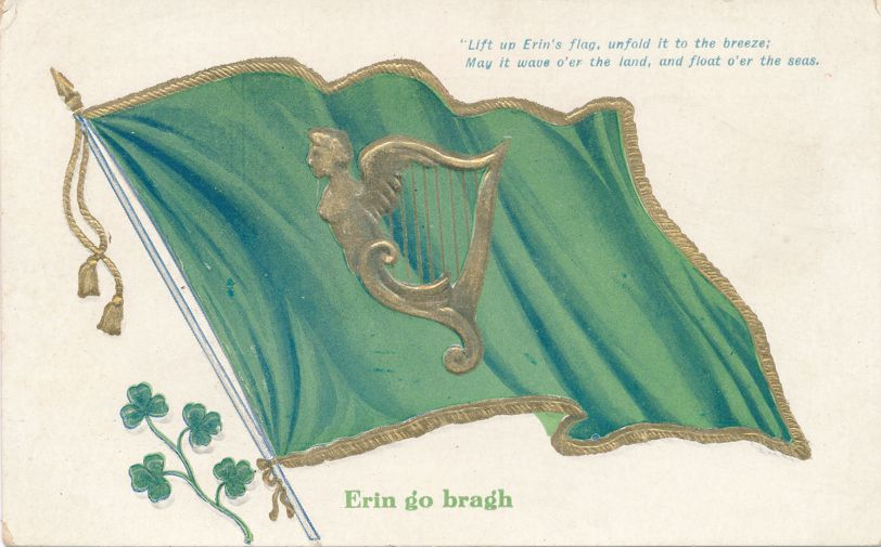 St Patricks Day Greetings - May Erin's Flag and Harp Wave over the Land - Divided Back