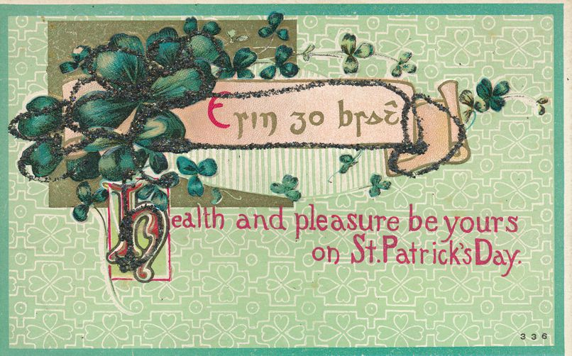 St Patricks Day Greetings - Health and Pleasure be Yours - H.I.R. 1910 - Divided Back