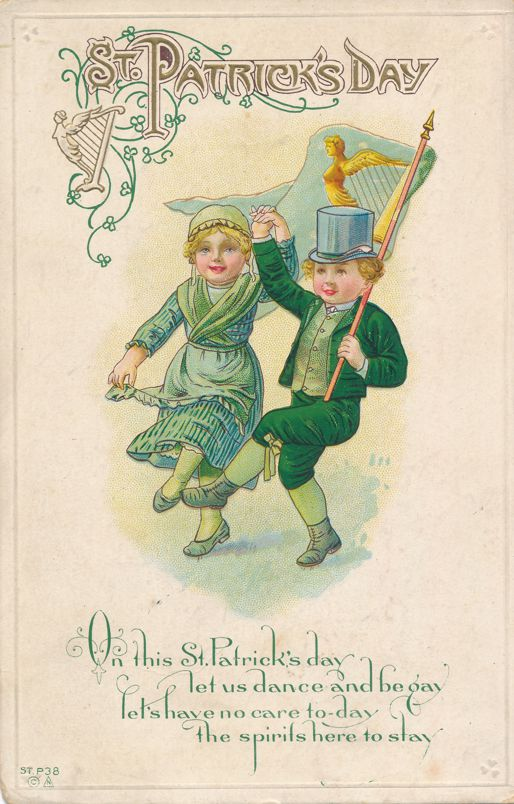 St Patricks Day Greetings - Dancing Couple - E. Nash - Divided Back