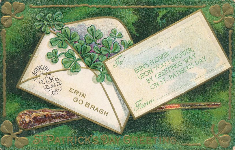 St Patricks Day Greetings - Erin's Flower upon you I Shower - Letter - pm 1912 at East Stroudsburg PA - Divided Back