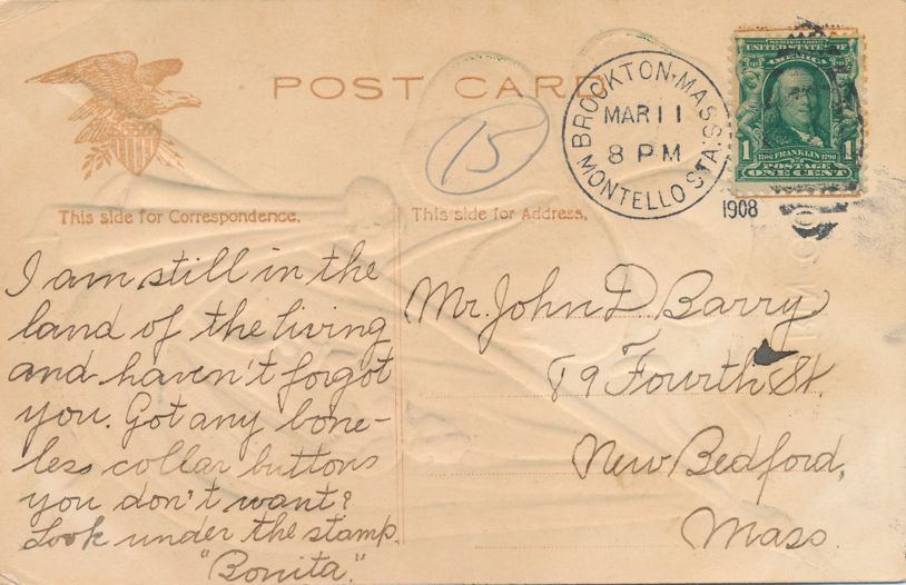 St Patricks Day Greetings - Harp and Shamrock - Erin Go Bragh - pm 1908 at Brockton MA - Divided Back