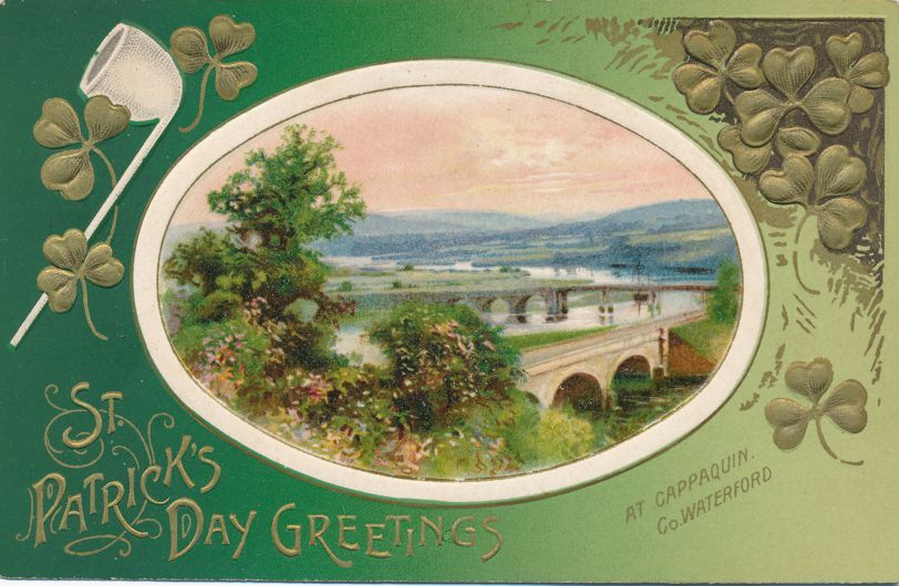 St Patricks Day Greetings - Bridges at Cappaquin, Ireland - Divided Back