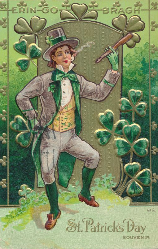 St Patricks Day Greetings - Man Dancing and Smoking Pipe - E Nash - pm 1911 at Hudson NY - Divided Back