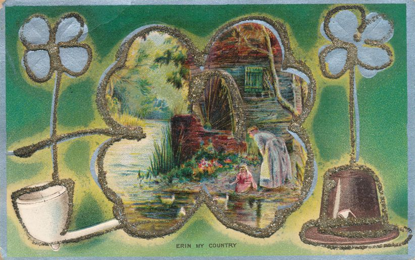 St Patricks Day Greetings - Feeding Ducks by Old Mill - Erin My Country - Divided Back
