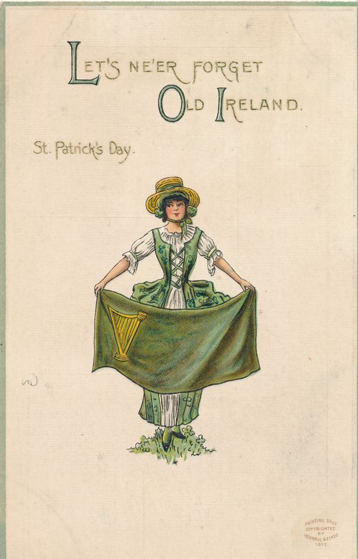 St Patricks Day Greetings - Never forget Old Ireland - Lady with Banner - Divided Back