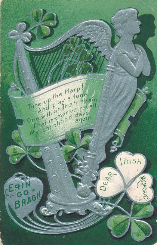 St Patricks Day Greetings - Tune up the Harp - Irish Memories - pm 1908 at Danville PA - Divided Back