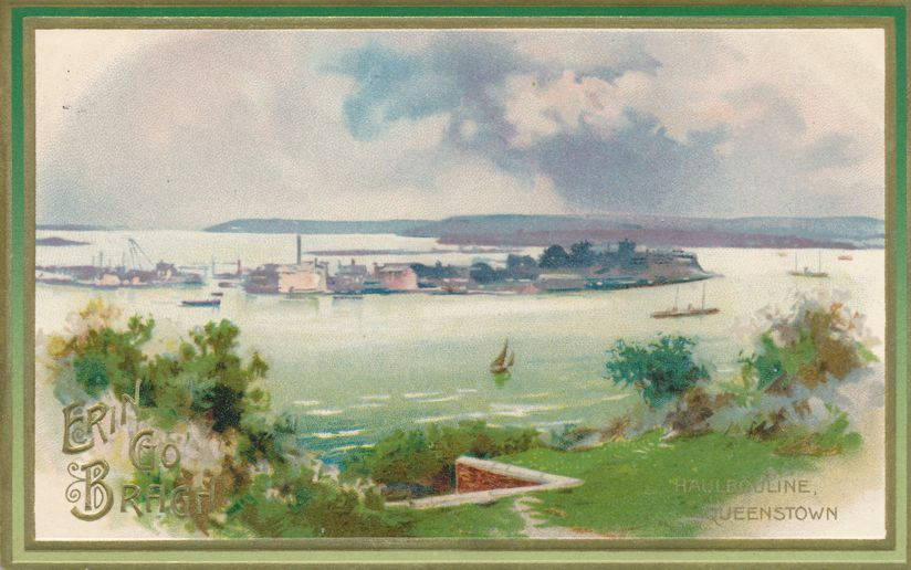 St Patricks Day Greetings - Queenstown Ireland - Haulbowline Island - pm 1910 at Athens PA - Divided Back