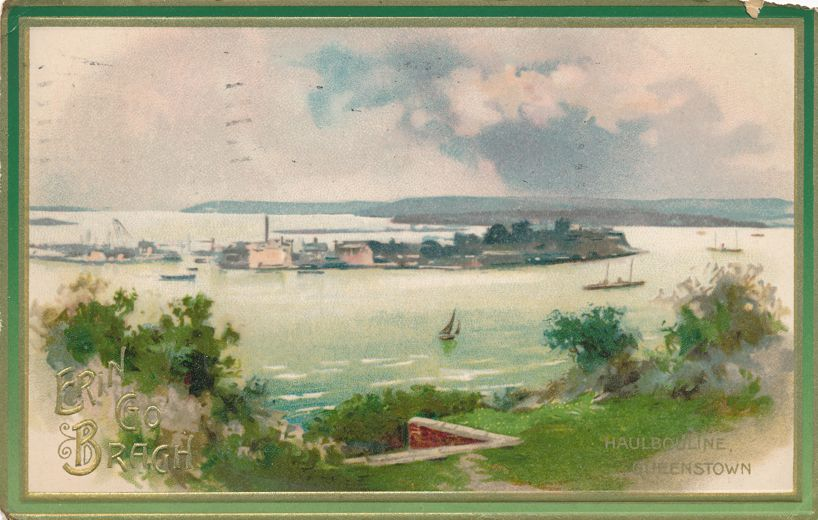 St Patricks Day Greetings - Haulbowline Island Queenstown Ireland - pm 1911 at Peekskill NY - Divided Back