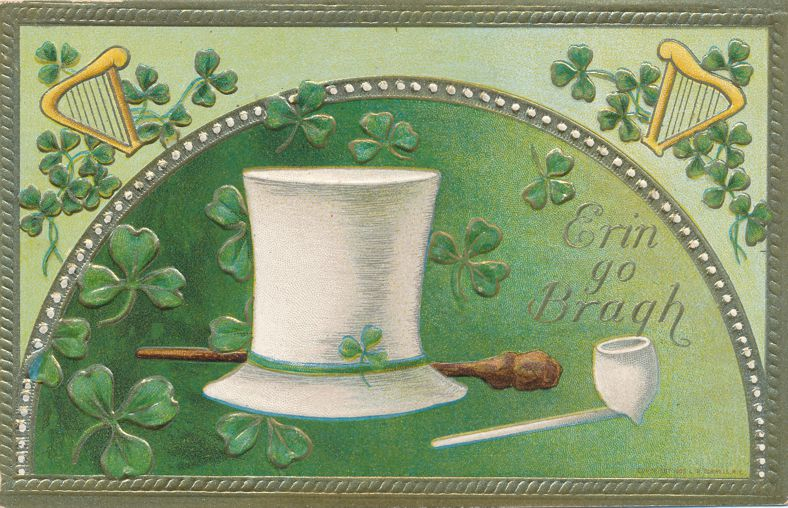 St Patricks Day Greetings Hat Pipe Harp Erin go Bragh - Pub Conwell - Divided Back