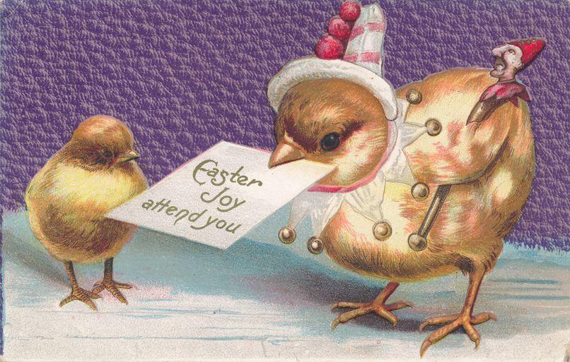 Easter Greetings - May Easter Joy Attend You - Chicks - pm 1910 at Seneca Falls NY - Divided Back