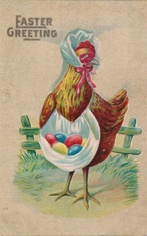 Easter Greetings - Hen with colored eggs - pm 1910 at Rock Island IL - Divided Back