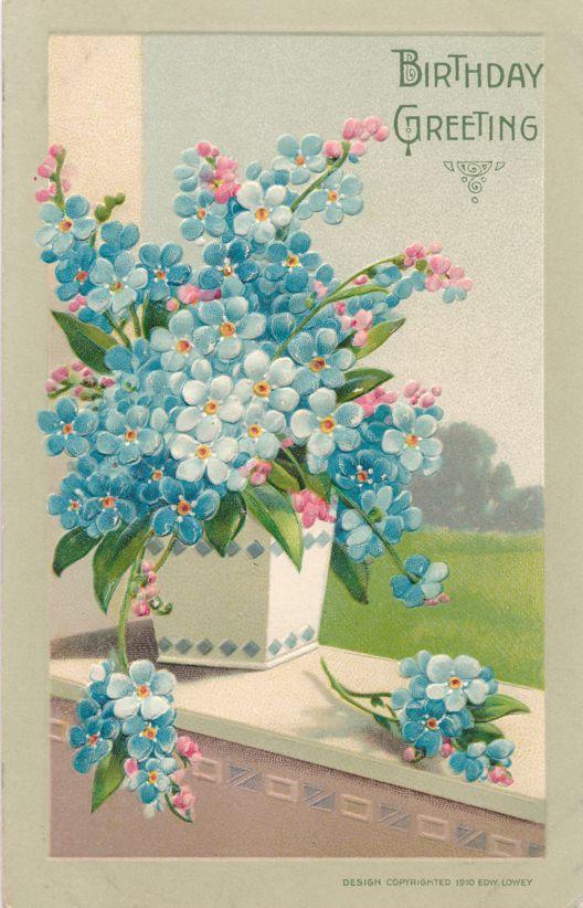 Happy Birthday Greetings - Vase of Flowers - Edward Lowey - Divided Back