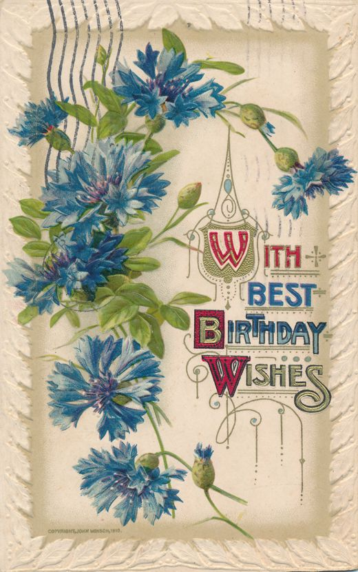 Happy Birthday Greetings with Best Wishes - pm 1914 at Rochester NY - John Winsch - Divided Back
