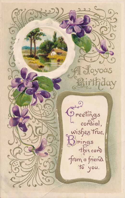 Happy Birthday Greetings - Joyous Wishes True - pm 1912 at Whitman MA - Divided Back