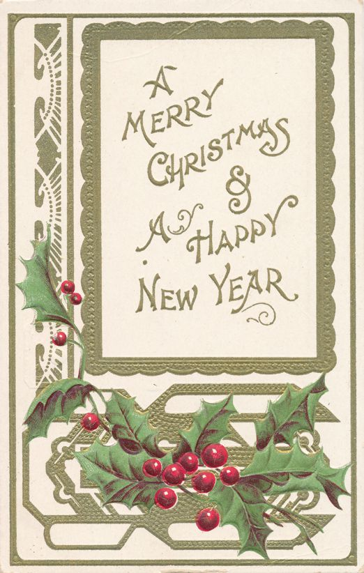 Merry Christmas Greetings - Holly and Happy New Year - Divided Back