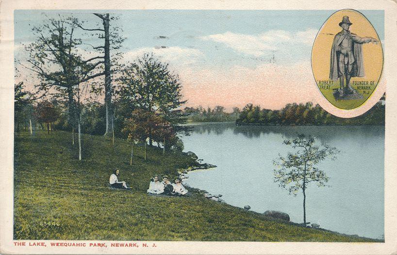 Children at the Lake in Weequahic Park - Newark, New Jersey - Tobert Treat - pm 1919 - White Border