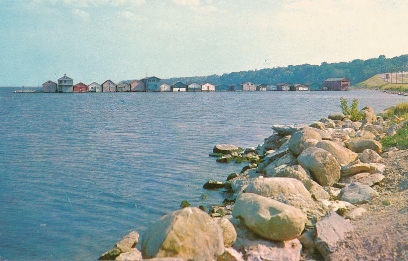 Geneva, New York - Long Pier Boathouses and Fishing Shacks on Seneca Lake