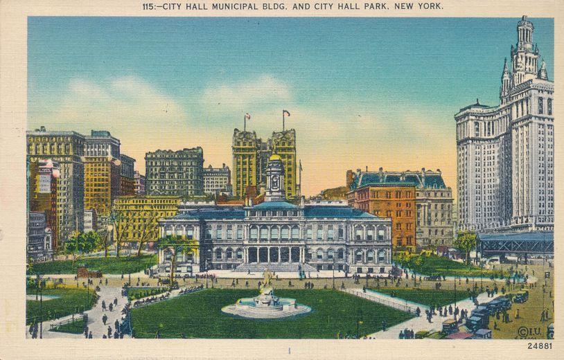 Municipal Building at City Hall Park, New York City - pm 1939 - Linen Card