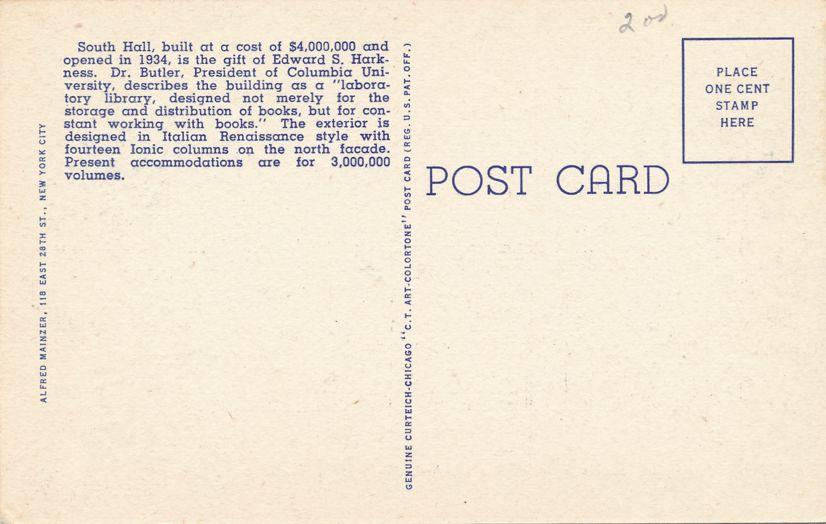 South Hall at Columbia University, New York City - Linen Card