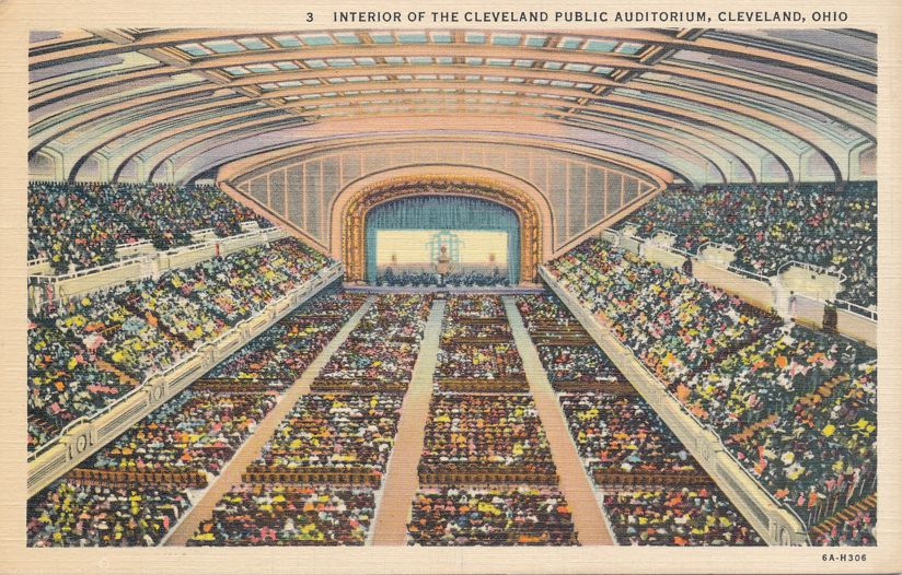 Interior of Cleveland Public Auditorium - Cleveland, Ohio - Linen Card
