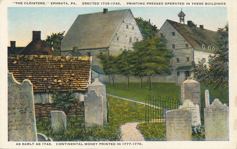 The Cloisters, Ephrata, Pennsylvania 1770's Printing Presses - White Border