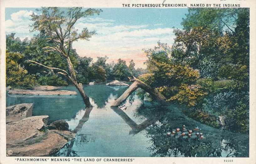 Picturesque Perkiomen Creek, Pennsylvania - Tributary of Schuykill River - pm 1954 at Pottstown PA - White Border