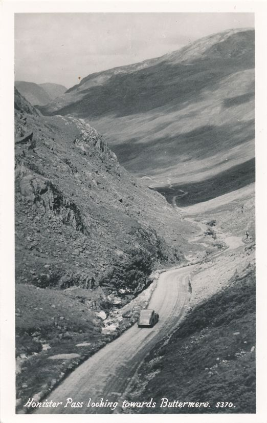 RPPC Honister Pass looking towards Buttermere - Lake District, Cumbria, England - Real Photo
