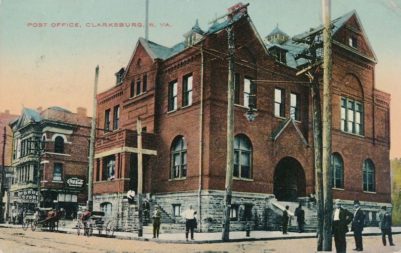 Post Office at Clarksburg, West Virginia - Coca-Cola Signage - pm 1912 at Meadowbrook WV - Divided Back