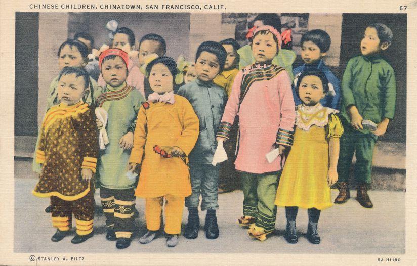 Chinese Children at Chinatown - San Francisco, California - Linen Card
