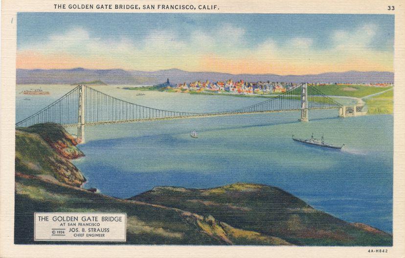 Golden Gate Bridge - Engineer Joseph Strauss - San Francisco, California - Linen Card