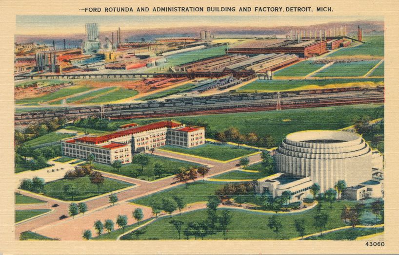 Ford Rotunda, Admin Building, and Factory - Detroit, Michigan - Linen Card
