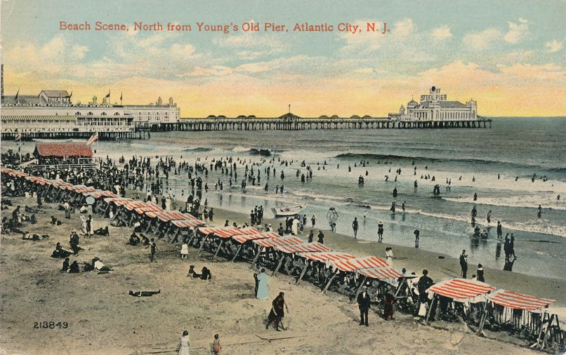 Atlantic City, New Jersey - Beach Scene North from Young's Old Pier - Divided Back
