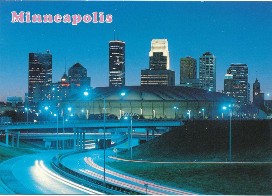 Night View of Metrodome - Minneapolis, Minnesota - Baseball and Football