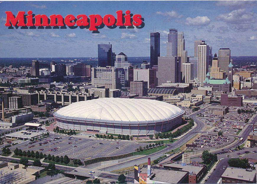 Metrodome and Downtown Minneapolis, Minnesota - Twins Baseball, Vikings Football