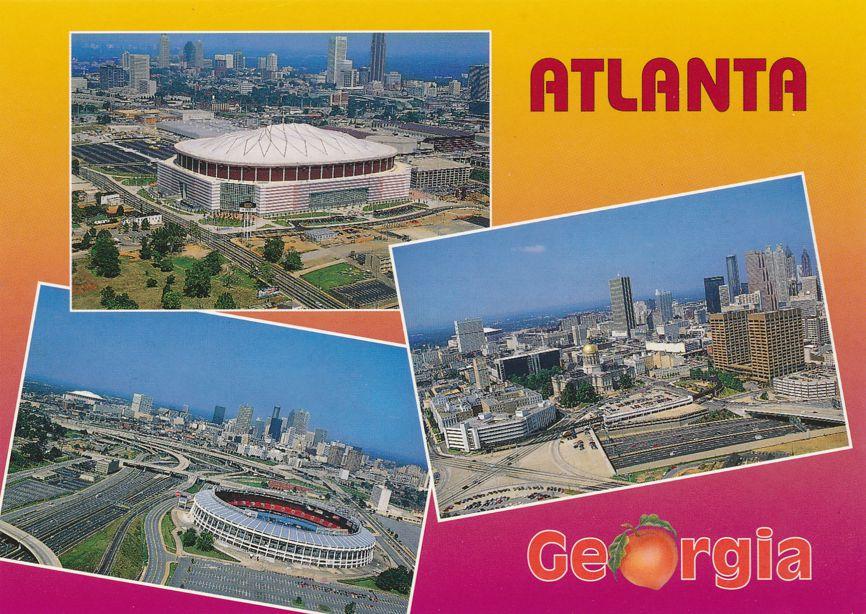 Multiview of Atlanta, Georgia - Fulton County Baseball Stadium - Georgia Dome