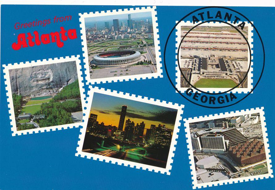 Greetings from Atlanta, Georgia - Multiview - Simulated Stamps