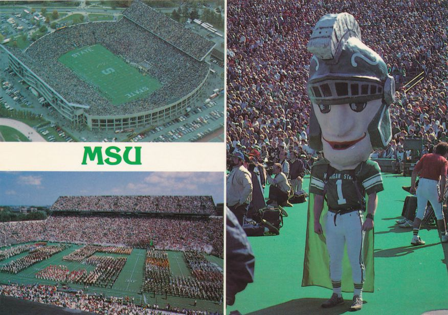 Michigan State University at East Lansing - Football Stadium, Marching Band, Mascot