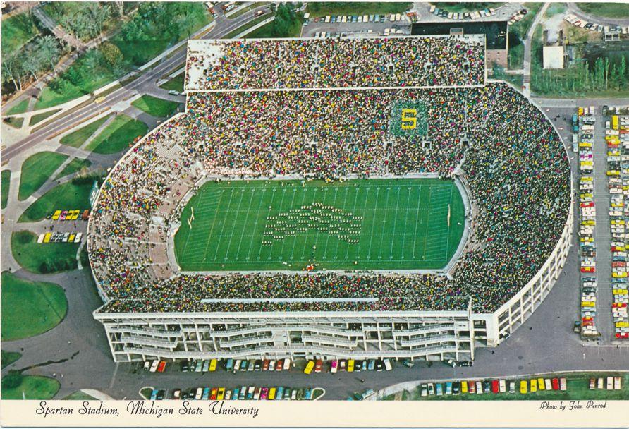Michigan State University at East Lansing - Marching Band in Football Stadium