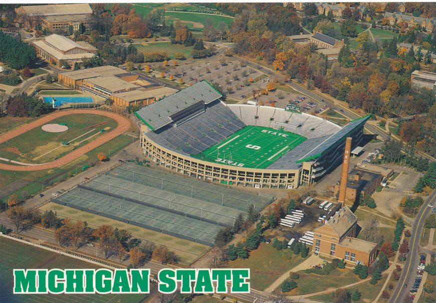 Michigan State University at East Lansing - Campus and football Stadium
