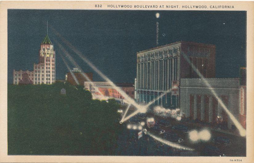Hollywood Boulevard at Night - Hollywood, California - Linen Card