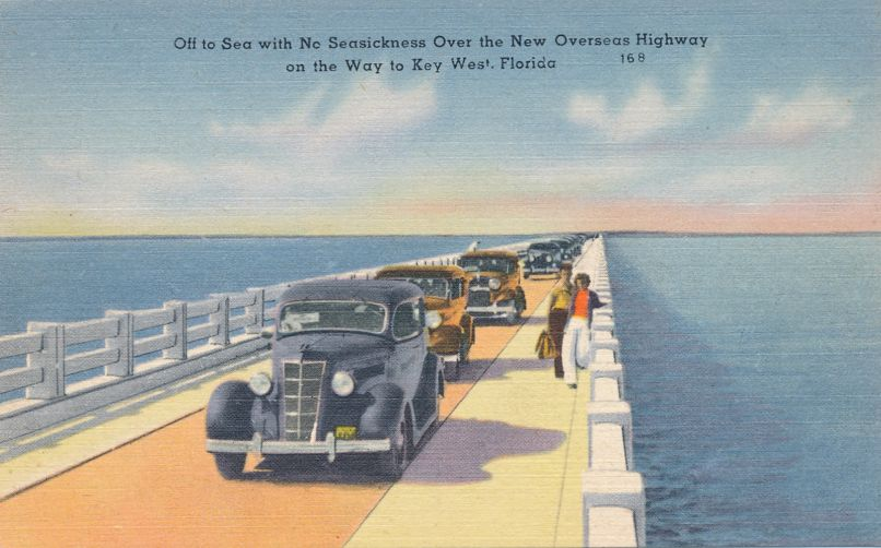 Old Cars on Overseas Highway to Key West, Florida - Linen Card