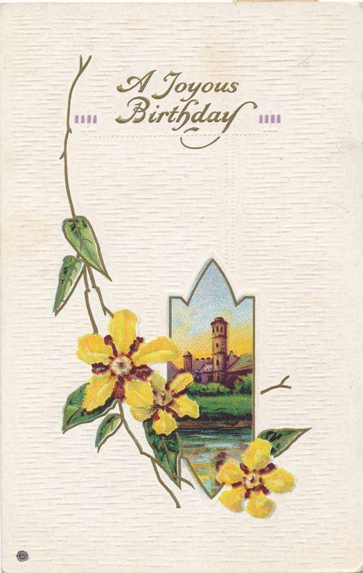Joyous Birthday Greetings - Flowers and Church Scene - pm 1916 at Ashford NY - Divided Back